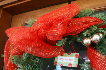 Flat Bow on Christmas Wreath