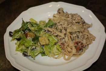 Plated Chicken Fettuccine Alfredo