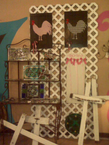 Booth Wall with Roosters