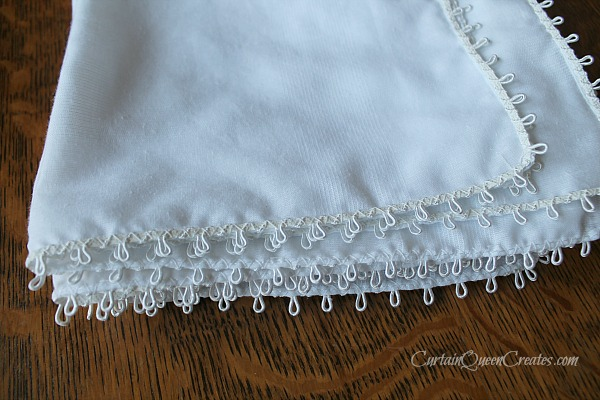 Set of Six Lace-Edged Napkins