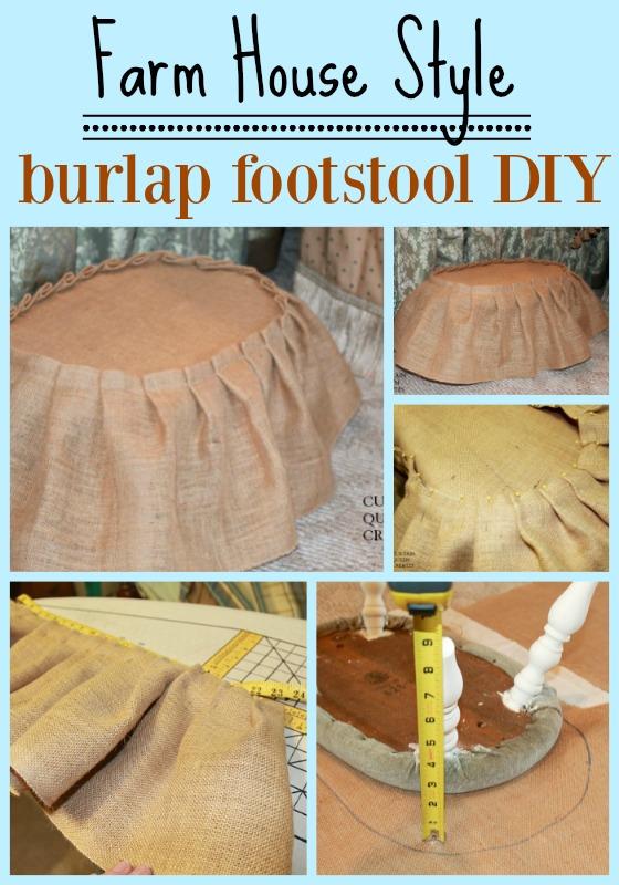 Farm House Burlap Foot Stool DIY