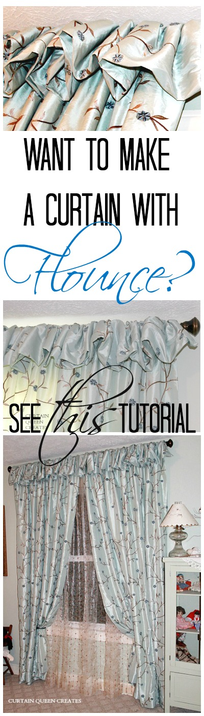 How to Make Panels with Flounce - tutorial @ http://CurtainQueenCreates.com