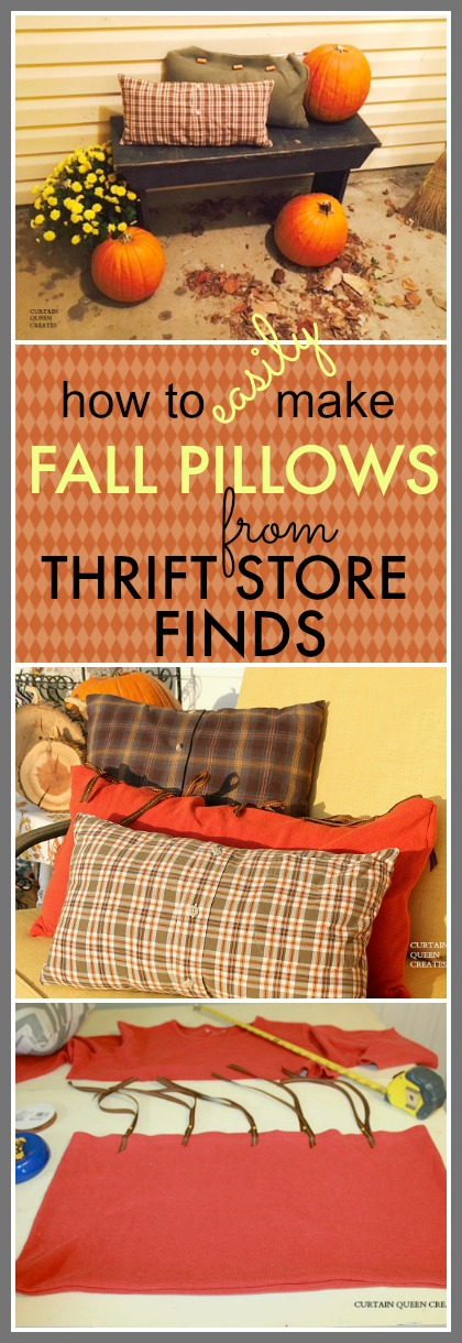 How to Easily Make FALL PILLOWS from Thrift Store Shirts @CurtainQueenCreates.com