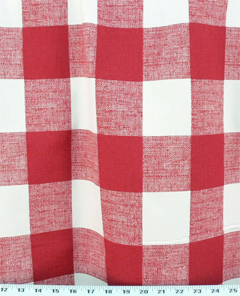Red and White Buggalo Check Fabric
